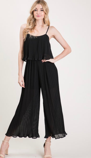 Black Pleated Ruffle Jumpsuit