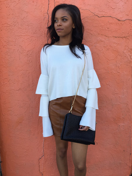White Layered Bell Sleeve Sweater