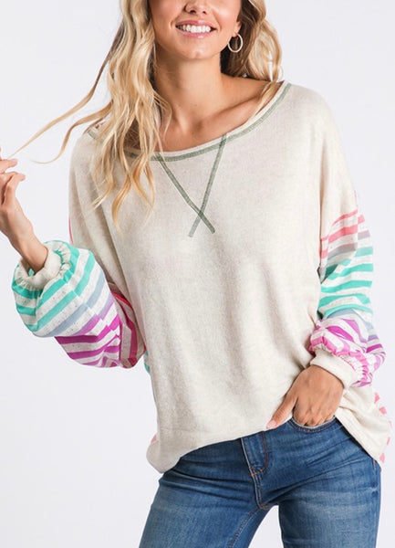 Ivory/Pink Stripe Mix Top