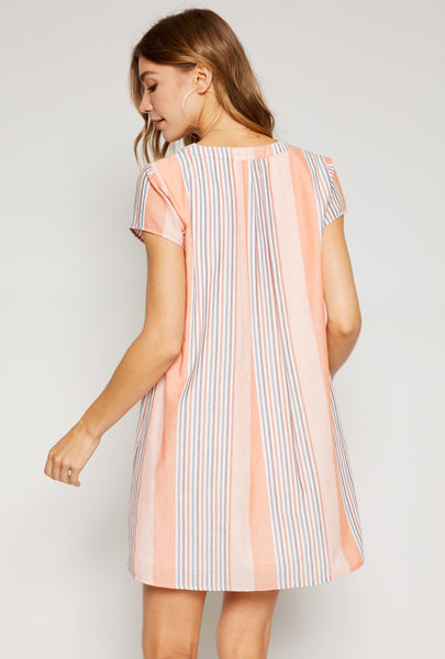 Sun Fire Stripe Tangerine Dress