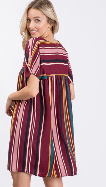 Wine Stripe Short Tunic Dress