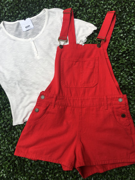 Red Denim Shortall