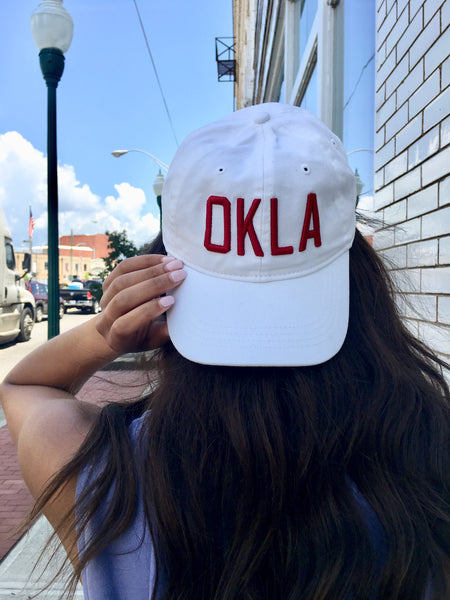 OKLA -- White/Crimson Ball Cap