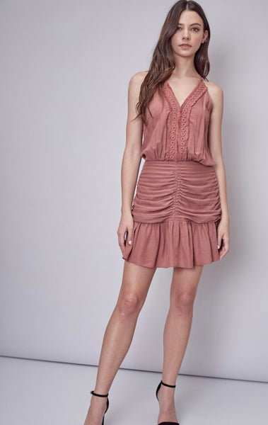Dark Clay Embroidered Ruched Dress
