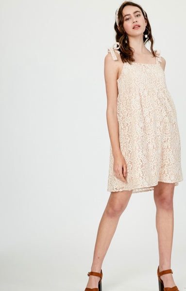 Champagne Lace Baby Doll Dress