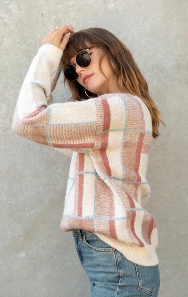 Taupe Plaid Sweater