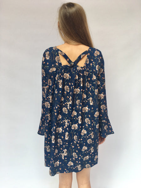 Teal Blue Floral Shift Dress