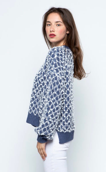 Dusty Blue Diamond Pattern Sweater