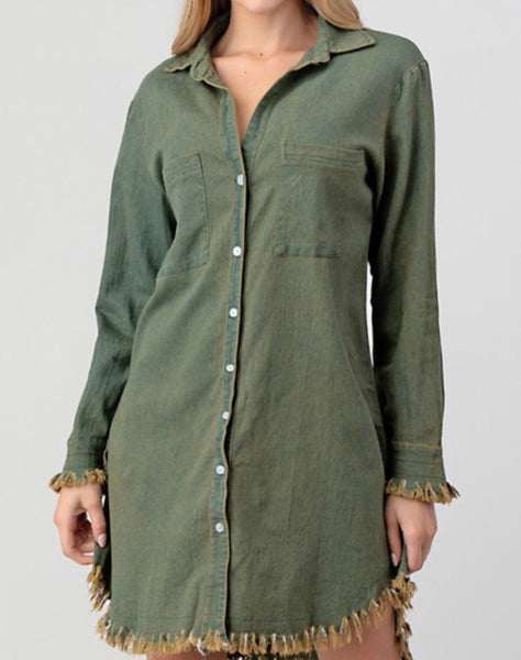 Olive Denim Tunic Dress