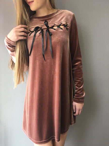 Cocoa Velvet Lace Up Dress