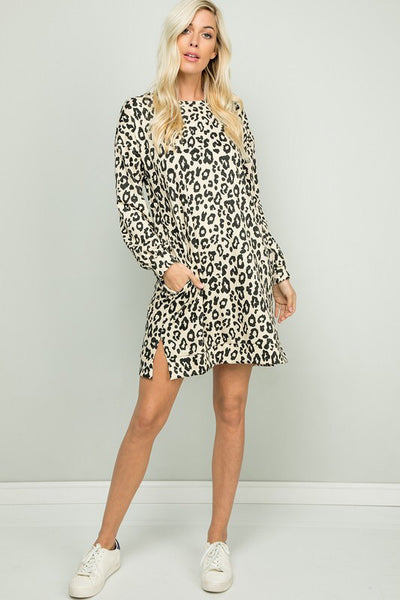 Light Taupe Leopard Tunic Dress w/Pockets