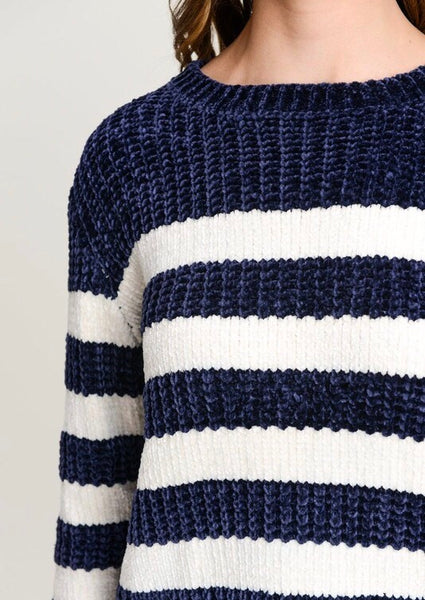 Navy Striped Velvet Knit Sweater