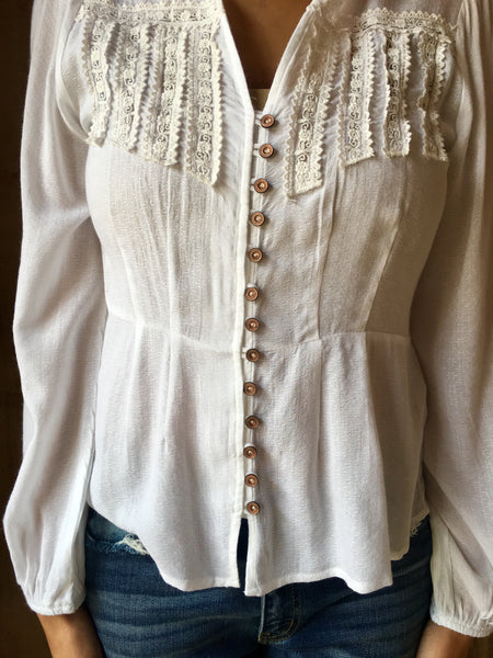Off White Eyelet Top