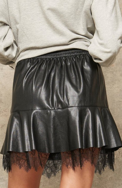 Black Ruffled Leather Lace Skirt