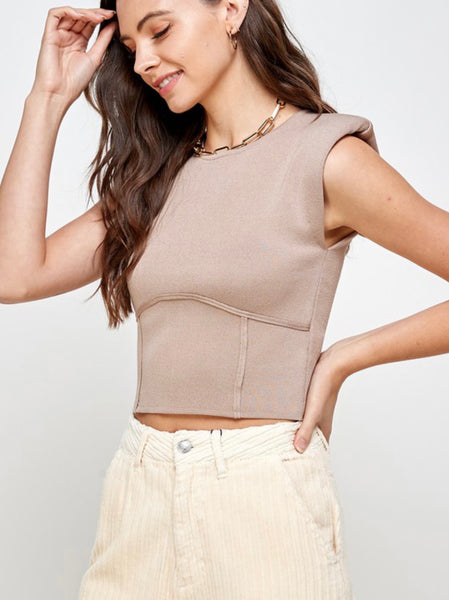 Ash Knit Shoulder Pad Top
