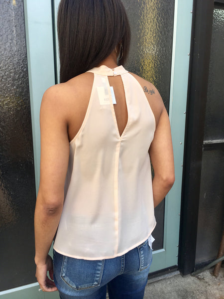 Lavender-Brown High Neckline Flowy Tank