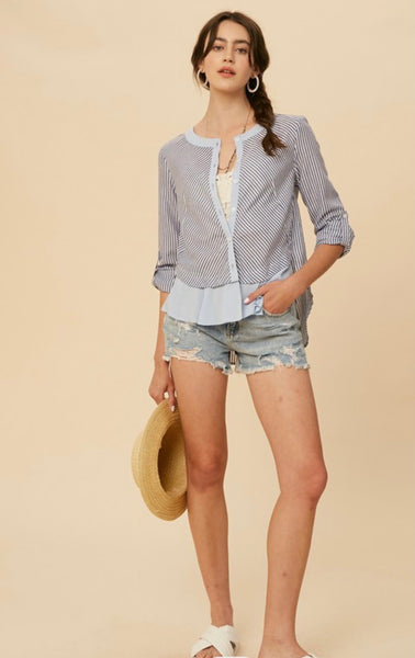 Blue Stripe Button Down Top