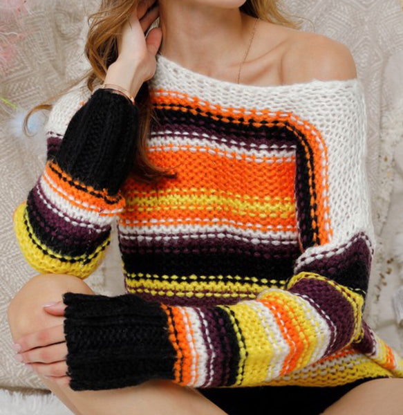 White Round Neck Crochet Sweater