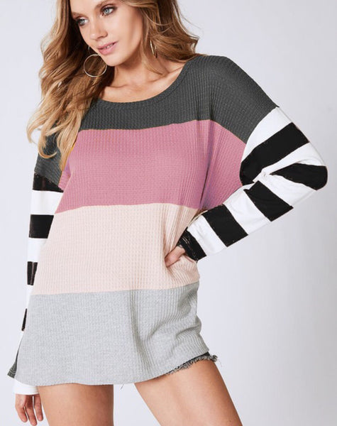 Thermal Waffle Stripe Top