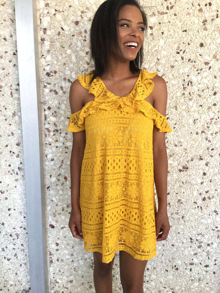 Mustard Lace Crochet Ruffle Dress