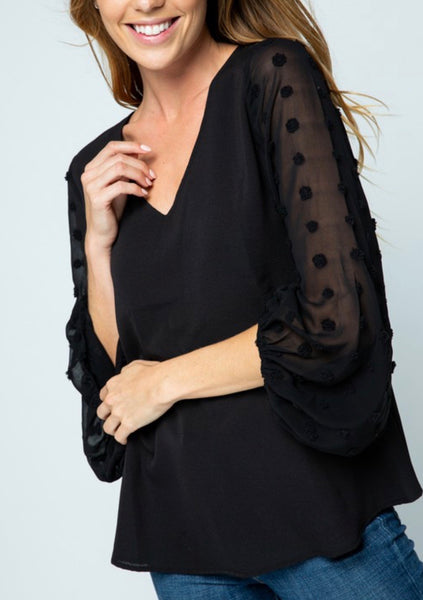 Black Pompom Sleeve Blouse