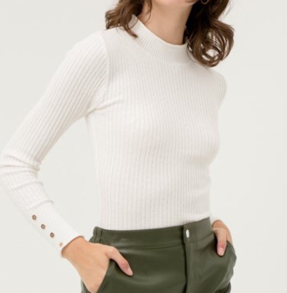 White Fitted Ribbed Knit Sweater