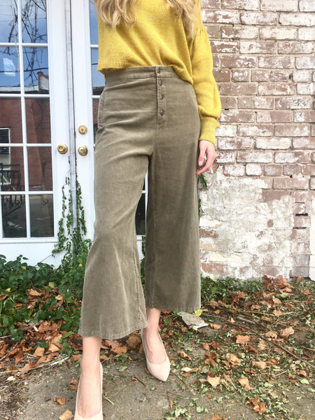 Washed Olive Wide Leg Pants