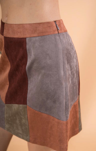 Wine Faux Suede Skirt