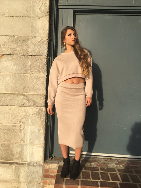 Blush Knitted Mid Skirt