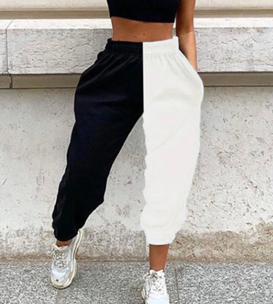 Black/White High Waist Joggers