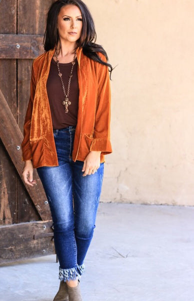 Rust Soft Velvet Blazer Plus