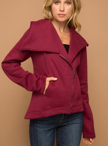 Wine Asymmetric Jacket