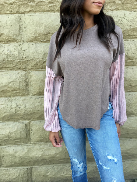 Blush Rib Knit Top w/Contrast Sleeve