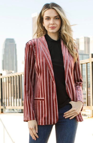 Wine Metallic Stripe Jacket
