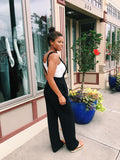 Black Solid Square Neck Jumpsuit