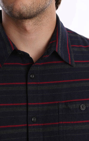 Charcoal Horizontal Stripe Flannel Shirt