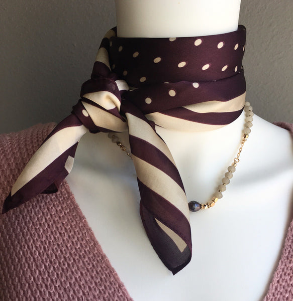 Purple Background Dot Neck Scarf