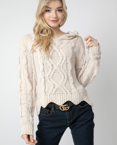Cream Cable Hoodie Sweater