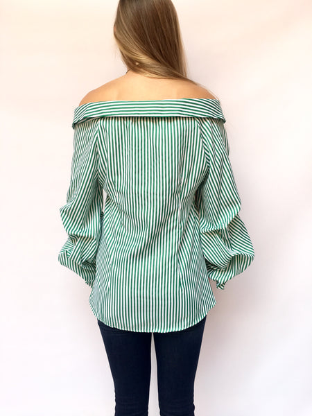 Green Pinstripe Rushed Sleeve Top