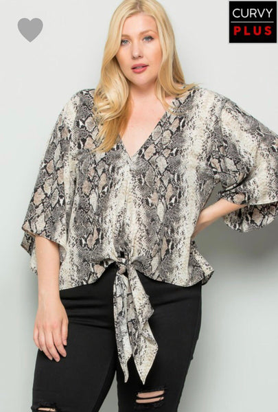 Taupe Snake Print Top Plus
