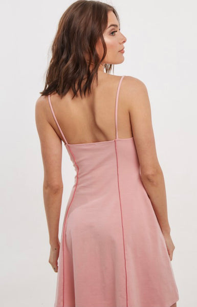 Dusty Pink Thread Detail Dress