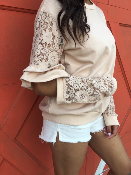 Taupe LS Lace Top