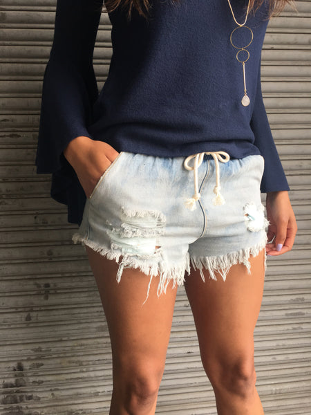 Drawstring Bleach Denim Shorts