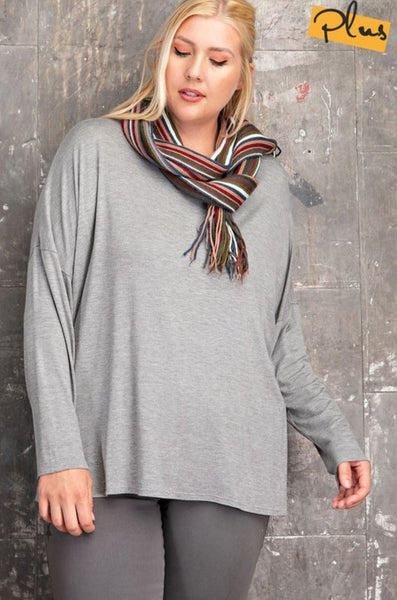 PLUS Heather Grey Slouchy Top