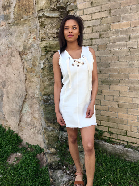 White Sleeveless Denim Dress