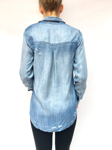 Denim Blue Distressed Shirt
