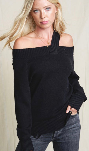 Black Off Shoulder Sweater