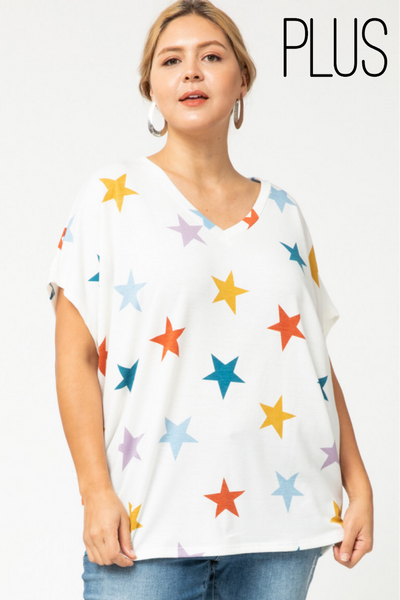 Ivory Star Print Top-Plus