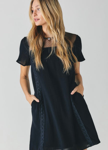 Black Lace Yoke Neckline Shift Dress