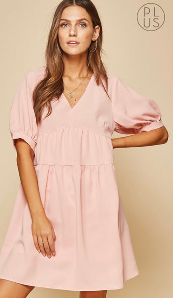 Blush Babydoll Dress-Plus